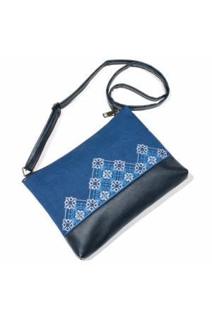 Вишита сумка синього кольору «Діброва»