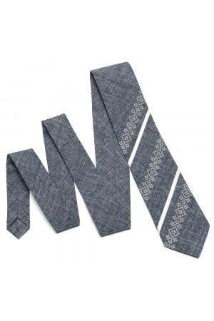 Вишита краватка «Макар» сірого кольору