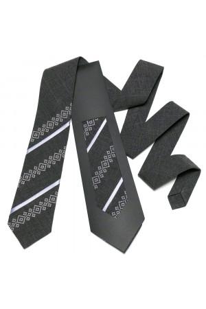 Вышитый галстук «Макар» темно-серого цвета