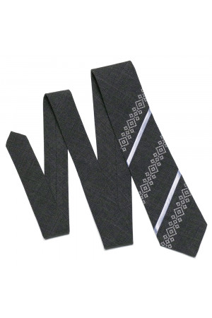 Вишита краватка «Макар» темно-сірого кольору