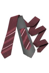 Вишита краватка «Макар» бордового кольору