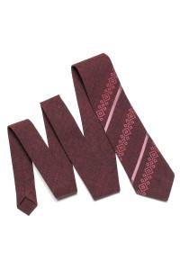 Вышитый галстук «Макар» бордового цвета