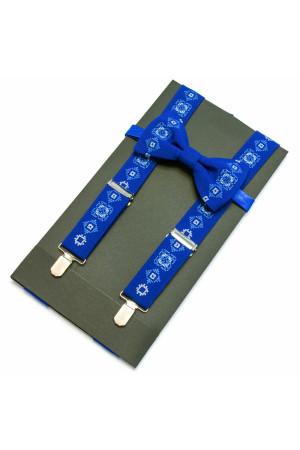 Вишитий чоловічий комплект: краватка-метелик та підтяжки кольору електрик