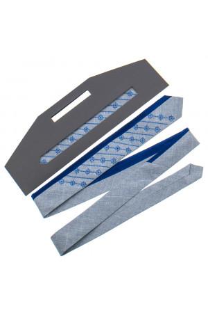 Вышитый галстук «Федор» серого цвета с синим