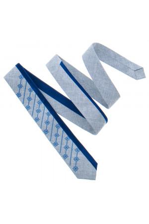 Вишита краватка «Федір» сірого кольору з синім