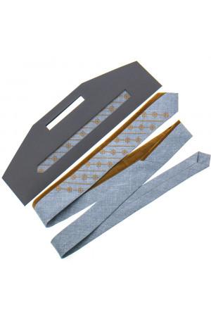 Вышитый галстук «Федор» серого цвета с охрой