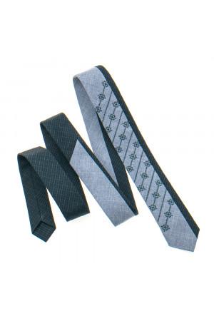 Вишита краватка «Федір» сірого кольору з темно-сірим