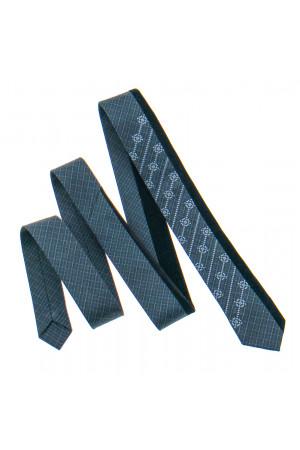 Вишита краватка «Федір» темно-сірого кольору з чорним