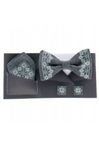 Вишитий комплект «Давид»: краватка-метелик, хусточка, запонки темно-сірого кольору