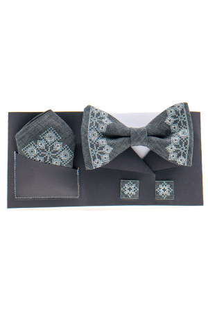 Вышитый комплект «Давид»: галстук-бабочка, платочек, запонки темно-серого цвета
