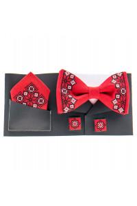 Вишитий комплект «Давид»: краватка-метелик, хусточка, запонки червоного кольору