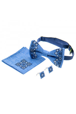 Вишитий комплект «Давид»: краватка-метелик, хусточка, запонки блакитного кольору