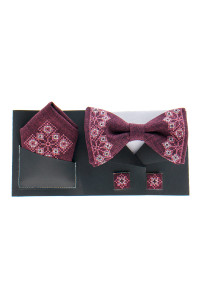 Вишитий комплект «Давид»: краватка-метелик, хусточка, запонки бордового кольору