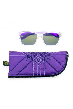 Вишитий чохол для окулярів фіолетового кольору