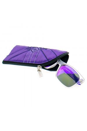 Вышитый чехол для очков фиолетового цвета