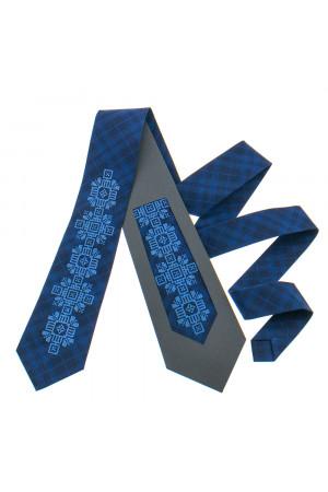 Вышитый галстук «Скальд» темно-синего цвета