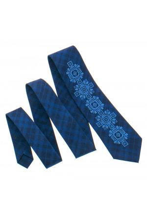 Вишита краватка «Скальд» темно-синього кольору