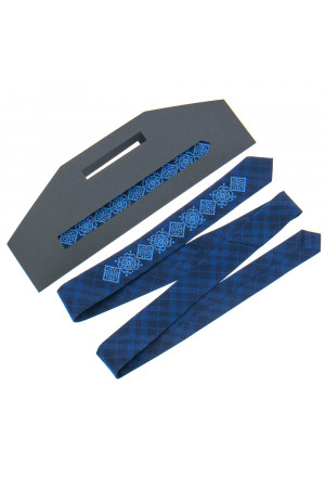Вузька краватка «Григір» темно-синього кольору