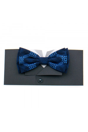 Вышитый галстук-бабочка «Вихрь» синего цвета