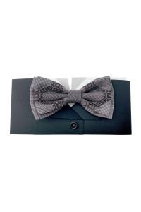 Вишита краватка-метелик «Вихор» коричнево-бежевого кольору
