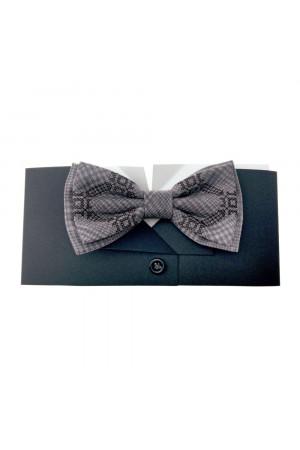 Вышитый галстук-бабочка «Вихрь» коричнево-бежевого цвета