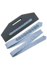Узкий галстук «Клим» светло-серого цвета