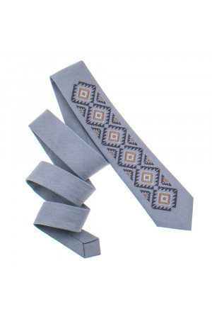 Вишита краватка «Скіф» світло-сірого кольору