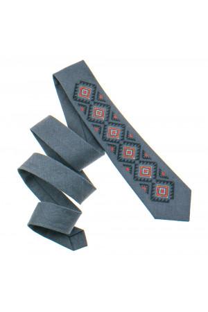 Вишита краватка «Скіф» темно-сірого кольору