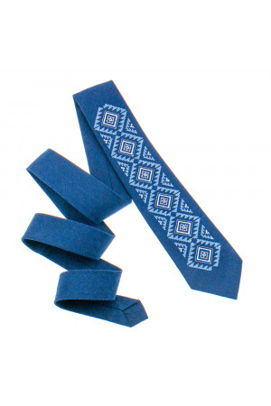 Вишита краватка «Скіф» синього кольору