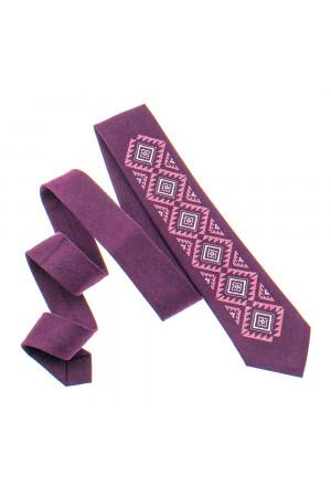 Вишита краватка «Скіф» бордового кольору