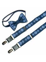Чоловічий комплект: краватка-метелик та підтяжки синього кольору