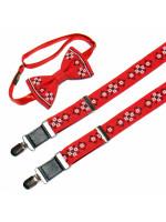 Чоловічий комплект: краватка-метелик та підтяжки червоного кольору