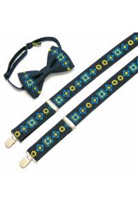 Чоловічий комплект: краватка-метелик та підтяжки темно-синього кольору