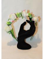Ободок-половинка з білими квітами