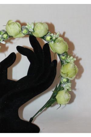 Ободок «Розы» лаймового цвета