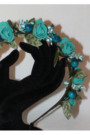 Ободок «Розы» цвета морской волны