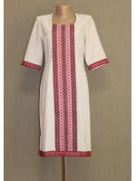 Платье «Кофейная страсть»  с красным орнаментом
