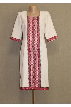 Сукня «Кавова пристрасть» з червоним орнаментом