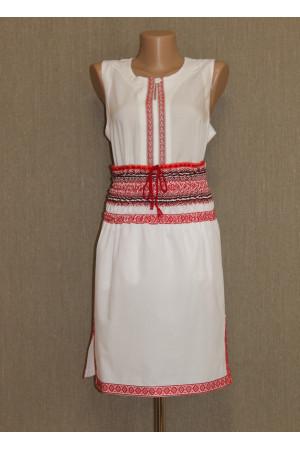 Біла спідниця з червоним орнаментом