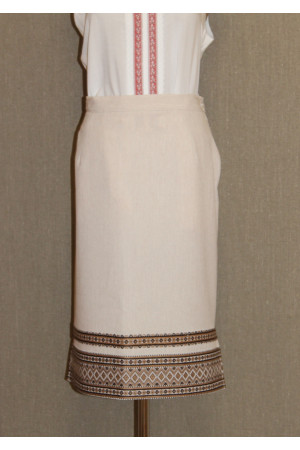 Бежевая юбка с коричневым орнаментом