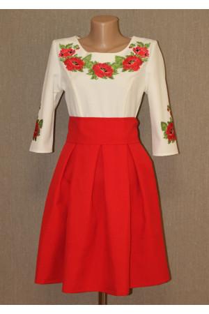 Платье «Праздничные маки» красного цвета