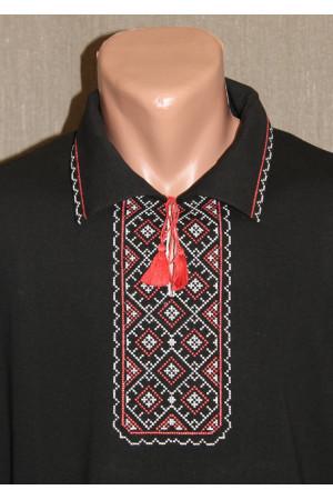 Футболка «Поло» з вишивкою червоного кольору