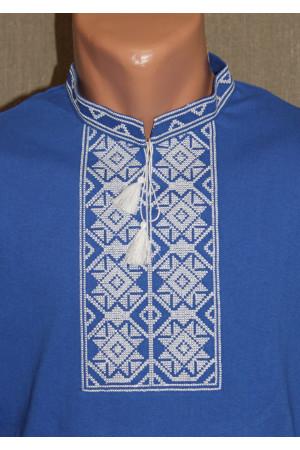 Футболка «Ромби» синя з вишивкою білого кольору