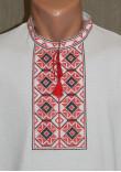Футболка «Ромби» біла з вишивкою червоного кольору