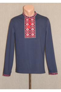 Футболка «Ромбы» темно-синяя с вышивкой красного цвета