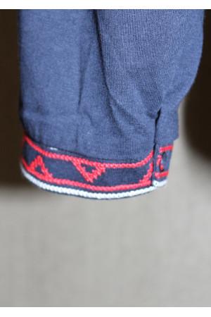 Футболка «Ромби» темно-синя з вишивкою червоного кольору