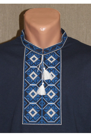 Футболка «Ромби» темно-синя з вишивкою синього кольору