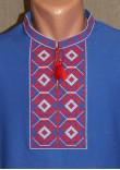 Футболка «Ромби» синя з вишивкою червоного кольору