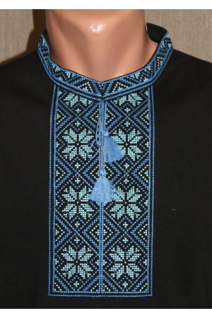 Футболка «Народна» чорна з вишивкою синього кольору