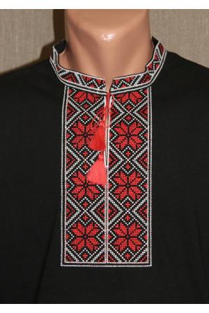 Футболка «Народна» чорна з вишивкою червоного кольору